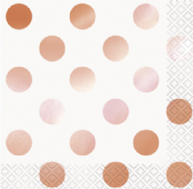 Metallic Rose Gold Dots Napkins (16pcs) 2-Ply Beverage Napkins